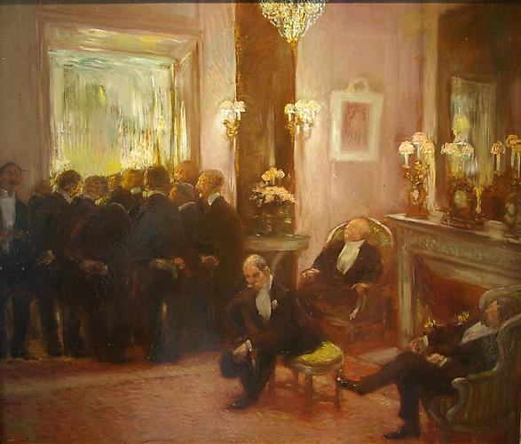 Before the Ball Oil on panel, 18 ½ x 21 ½ inches  (47 x 55 cm) Signed lower left: Gaston La Touche  Price upon request