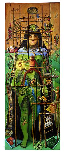 Lamp unto my feet, 2013 Oil on wooden door 78 x 29 inches