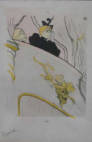 La Loge au Mascaron dore  (The Box with the Golden Mask) Lithograph printed in colors, 12 x 9 ½ inches  A  trial proof with registration marks without lettering  Signed in pencil lower left: Lautrec. With the Kleinman blindstamp lower left.