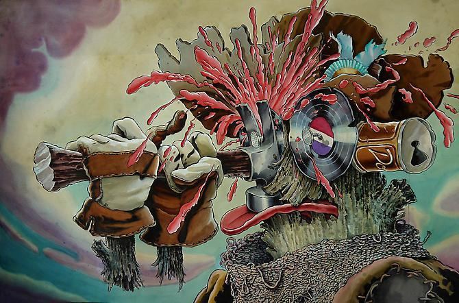 Zohar Lazar Cancel My Subscription to the Resurrection, 2011 Watercolor and ink on paper 60 x 40 inches