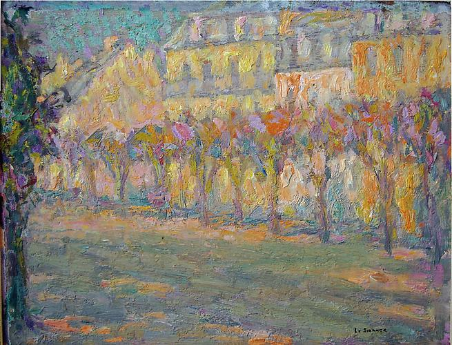 Les Arbres sur le Boulevard Oil on panel, 7 x 9 inches Signed lower right: Le Sidaner  Price upon request