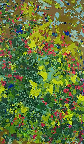 "Leaves, Flowers in the River 2011 Acrylic on canvas 77"" x 45"""