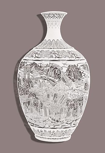 Vase-Re(location), 2013 Cut Paper Chinese xuan (rice) paper on silk 38.5 x 23.5 inches 97.8 x 59.7 cm
