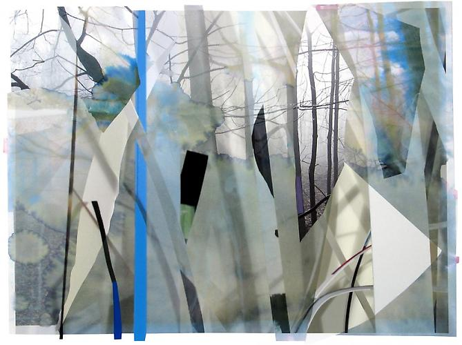 Scrap paper and woods 2, 2012 Archival inkjet print, gouache, paper and collage 23 x 30 inches
