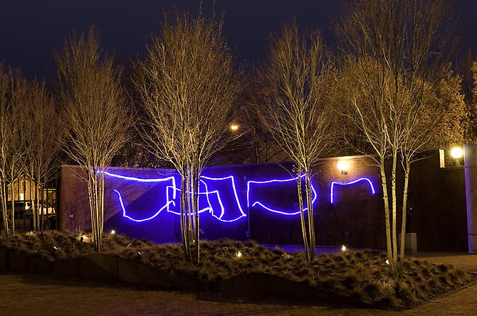 Sharon Louden, The Bridge (2009) Blue LED Neon Flex  Dimensions Variable  Shown here in the sculpture garden at the Weatherspoon Art Museum, Greensboro, NC