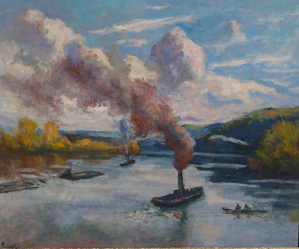 Maximilien Luce (French, 1858-1941) Peniches et Remorquers sur la Seine, Circa 1920 Oil on paper laid down on canvas, 21.25 x 25.75 inches (53 x 65 cm)  Signed lower left: Luce