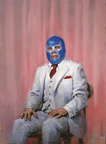 Jorg Dubin Luchadore, blue demon, 2006 Oil on linen 54 x 42 inches