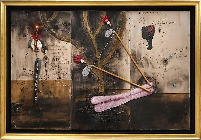 DAVID LYNCH  Bob's Second Dream , 2011  Mixed media Image: 72 x 108 inches Frame: 82 1/4 x 118 1/4 x 8 3/4 inches