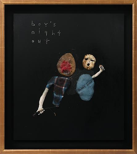 DAVID LYNCH  Boy's Night Out , 2012  Mixed media 27 x 31 inches