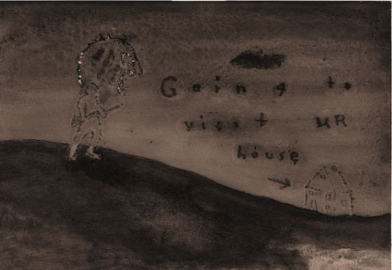 DAVID LYNCH  Going To Visit Ur House , 2008–09  Watercolor on paper 7 x 10 1/4 inches; 15 1/2 x 18 3/4 inches, framed