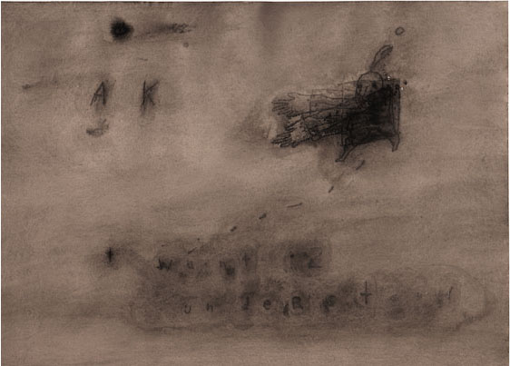 DAVID LYNCH  I Want 2 Understand , 2008–09  Watercolor on paper 10 1/4 x 14 inches; 18 x 21 3/8 inches, framed
