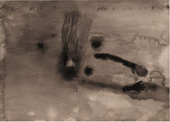 DAVID LYNCH  Man Reaching—2 , 2008–09  Watercolor on paper 10 1/4 x 14 inches; 18 x 21 3/8 inches, framed