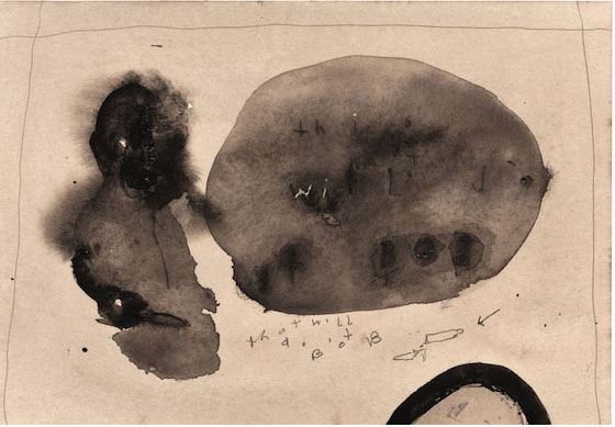 DAVID LYNCH  That Will Do It Bob , 2008–09  Watercolor on paper 7 x 10 1/4 inches; 15 1/2 x 18 3/4 inches, framed