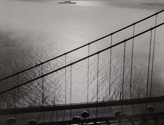 San Francisco Golden Gate Bridge, Alcatraz in Distance 1948 gelatin silver print