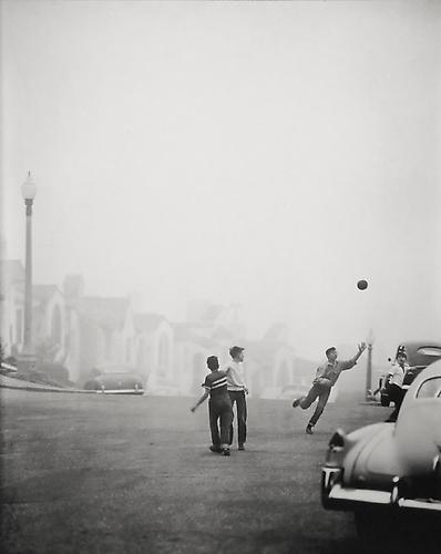 Street Ball Game in Fog 1950 gelatin silver print