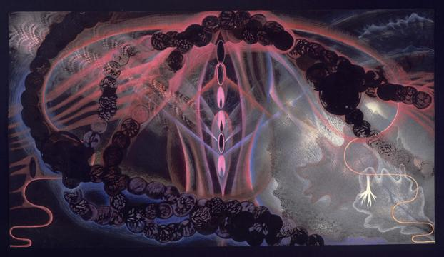 Marcy Hermansader  Equinox , 1989 mixed media, 20 x 40 inches Listing #1
