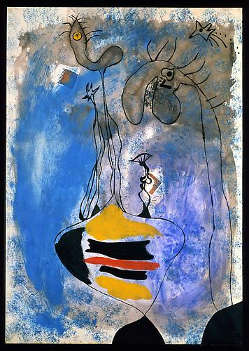Joan Miro Deux femmes, 1937 Oil, gouache, watercolor and collage on paper 41 x 29 inches