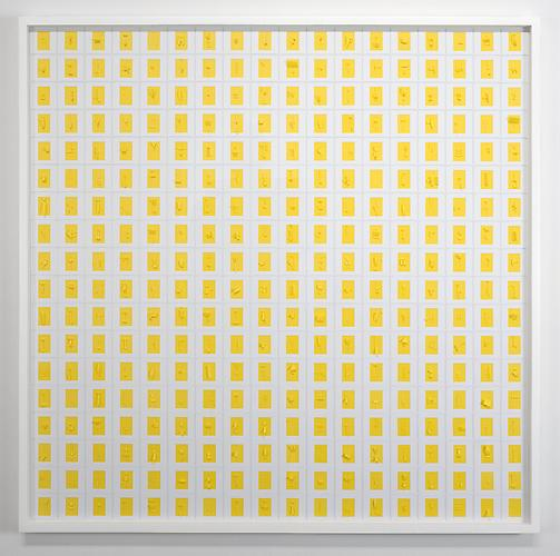 Yellow Sliding (West) , 2011, cuts on 100 pages, 35.5 x 35.5 inches, 37 x 37 inches framed