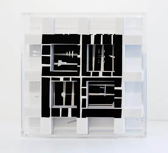 Turner Box: Complete Coverage on Oiticica 2 (metaesquema) , 2012, side A, cuts on 500 pages, plexiglas, 8 x 8 x 2 inches