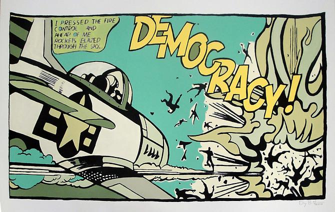 Democracy! (Green), 2011 Unique Acrylic and archival pigment print on rag paper  30 x 40 inches