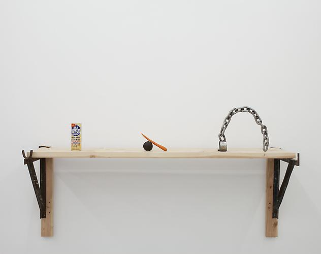 Mateo Tannatt Untitled, 2012 wood shelf, hardware, objects, chain, carrot and avocado 34 x 72 x 27 inches
