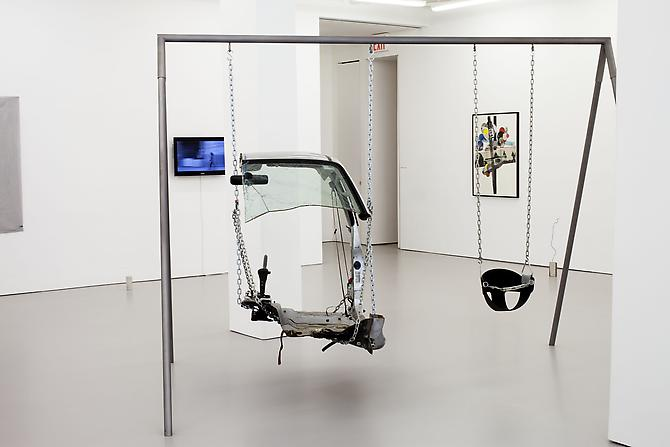 Mateo Tannatt New Line, Mitsubishi Pajero/Montero/Shogun 1982-Present, 2012 steel, chain, car door element, swing set 96 x 73 x 120 inches