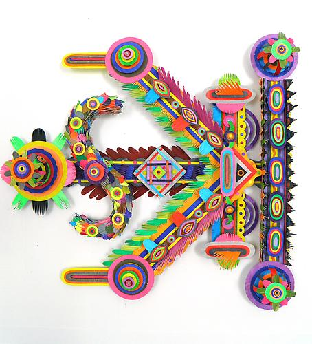 Flambeau, 2011 paper, acrylic, gator board and glue 18 x 18 x 2 inches