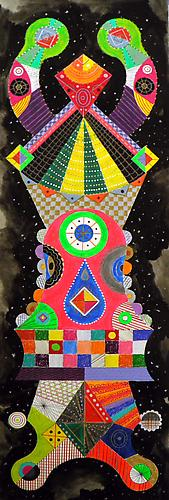Titan 1, 2011 mixed media on paper 40 x 13 inches