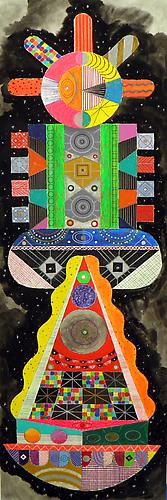 Titan 2, 2011 mixed media on paper 40 x 13 inches