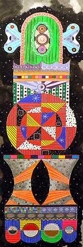Titan 4, 2011 mixed media on paper 40 x 13 inches