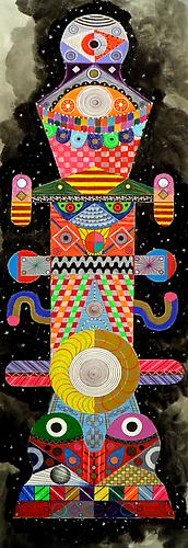 Titan 5, 2011 mixed media on paper 40 x 13 inches