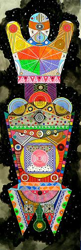 Titan 6, 2011 mixed media on paper 40 x 13 inches
