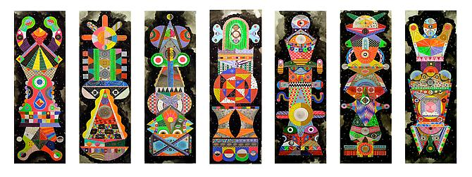 Titans 1-7, 2011 mixed media on paper 40 x 13 inches