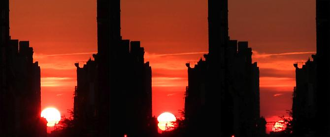 Manhattanhenge, 2014 Duratrans prints on lightbox (triptych) 21.5 x 15.5 inches 54.6 x 39.4 cm 21.5 x 52.5 inches 54.6 x 133.4 cm