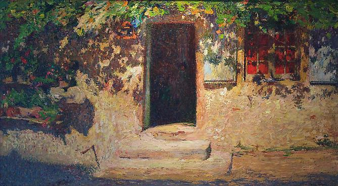 La Porte D' Entrée d'une Maison dans Labastide du Vert Oil on canvas, 21 x 37 inches (53 x 94 cm) Signed lower right: Henri Martin  Price upon request