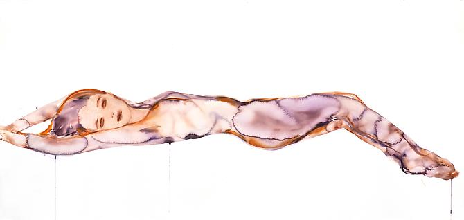Reclining Purple Figure (2012) Watercolor On Paper 43h x 91w in (114.3h x 198.12w cm)
