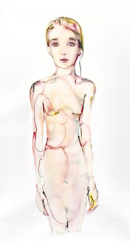 Single Strand (2012) Watercolor On Paper 74h x 45w in (187.96h x 114.3w cm)