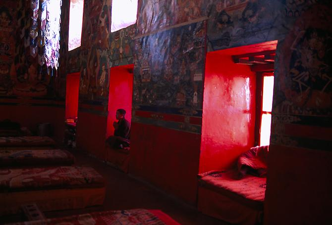 Monk Meditating in Monastery, Sakya, Tibet 2000 C-type print on Fuji Crystal Archive paper