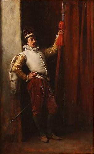 SOLD The Halberdier Oil on panel, 10 ¼ x 6 ¾ inches  Signed and dated lower left: E Meissonier 1851