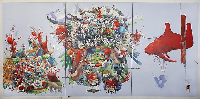 One , 2011 Acrylic on canvas & cut out paper 72 x 144 inches