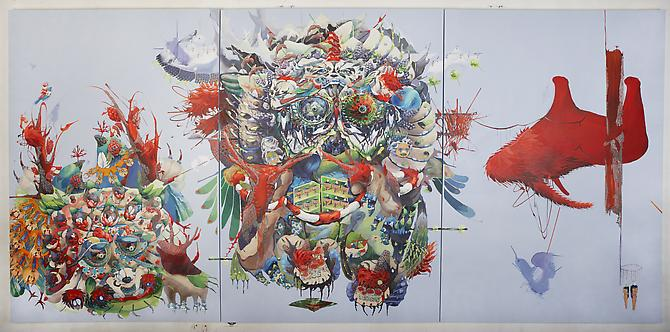 One,  2011 acrylic on canvas, cut-out paper 144 x 72 inches