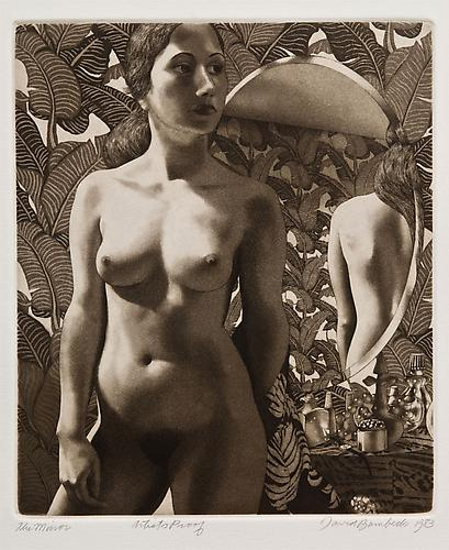 "David Bumbeck, 1983  The Mirror , print 8.75"" x 7"""