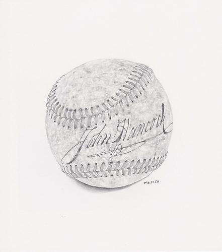 Foul Ball, 2011 Graphite on paper 8.75 x 7.75 inches