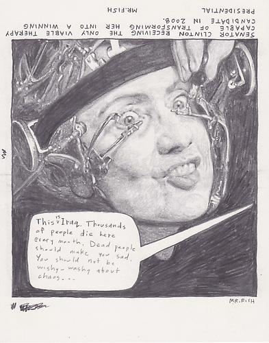 Clockwork Hillary, 2008 Graphite on paper 8.5 x 10.75 inches