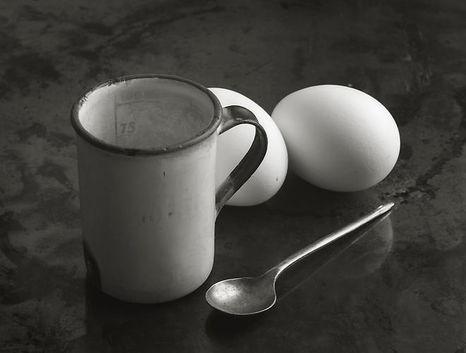Mug, Eggs and Spoon 1983 gelatin silver print