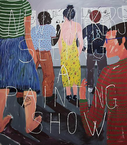 Cristina de Miguel  New Yorkers Seeing a Painting Show , 2012 Acrylic on canvas 96 x 84 inches