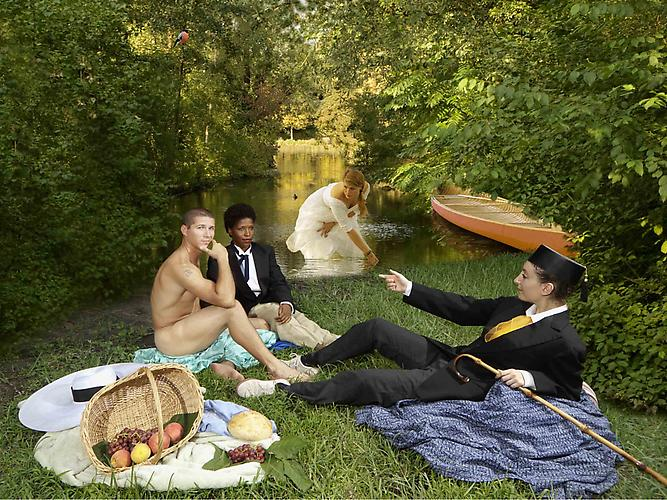 E2: Elizabeth Kleinveld and Epaul Julien  Ode to Manet's Dejeuner sur l'herbe , 2011 Ilford Gold Fibre Silk Print 16 x 20 inches