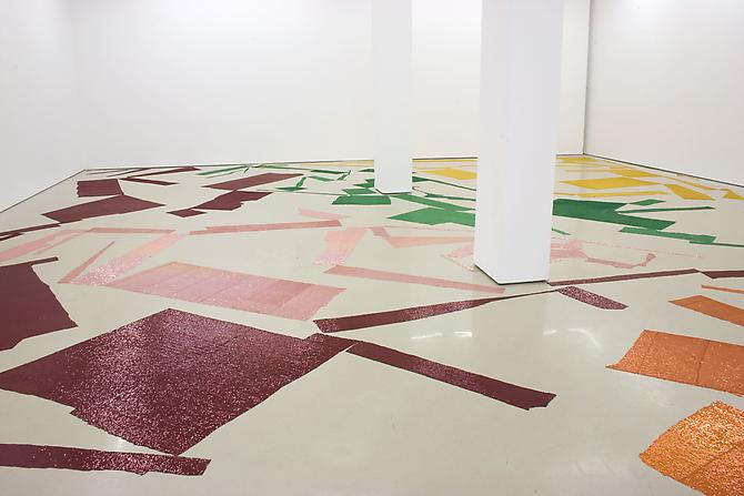 "Polly Apfelbaum Off Colour, 2010 synthetic sequined fabric dimensions variable  Installation View: D'Amelio Terras, New York. ""Off Colour,"" September 10 - October 23, 2010."
