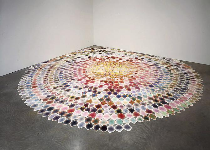 Polly Apfelbaum Blossom, 2000 synthetic velvet and dye approximately 18 feet (5.5 meters) in diameter 1040 separate pieces