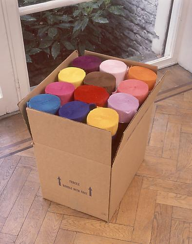 Polly Apfelbaum The Color of My Fate, 1990 crepe paper streamers and cardboard 20 x 17 x 14 inches